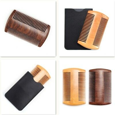 Double Side Anti-Static Wood Beard Comb Pocket Dual Action Moustache Grooming