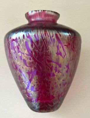 Iridescent Art Glass Vase Ruby Red Gold Purple Pink Blue Royal Brierley 12 00 Picclick Uk