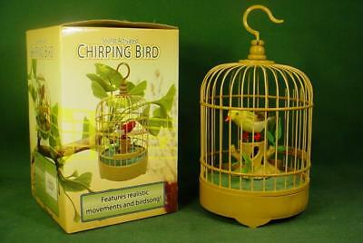 Nib Vintage Sound Activated Chirping Singing Goldfinch Bird In Cage Works!