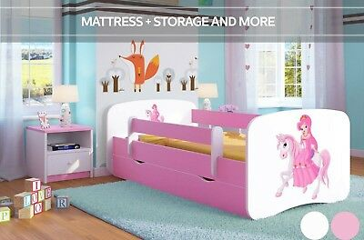 Cute Pink Children Toddler Bed with Mattress and Drawer | For Toddler Girls