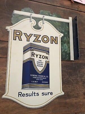Ryzon Baking Powder Metal Flange Advertising Sign Old Stock