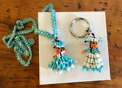 Lot of 2 Native American Beaded Girl Kachina, Doll Necklace, Keychain, Blue