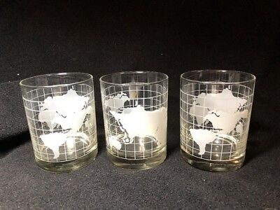 "3 Vintage Nestle Nescafe World Globe Map Old Fashioned Glasses 4 ¼"" Tall"