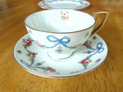Crown Staffordshire # 4547 Blue & Pink Bow and Gold Cup, Saucer, &Sandwich Plate