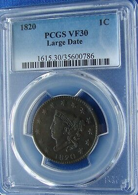 *beautiful Looking 1820 Coronet Head Large Cent Vf30 - Pcgs*