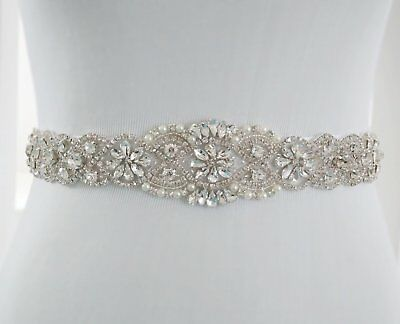 "Crystal Pearl Wedding Bridal Dress Sash Belt 23 1/2"" Long READ"