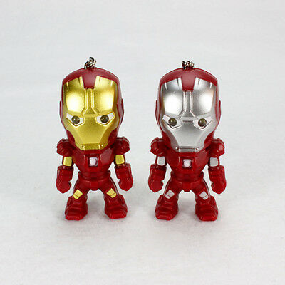 The Avengers Iron Man LED Flashlight Action Figure Toy With Sound Keychain Ring