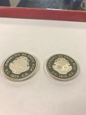 1974 Costa Rica WWF Conservation Series 50 and 100 Colones Silver Proof coin set
