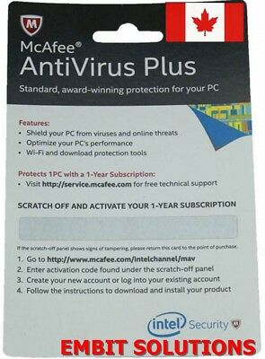 McAfee AntiVirus Plus 2018 1 Device / 1 Year Antivirus License,Email Delivery