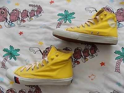 VTG 80's Pro Keds Hi-Top Sneakers 8.5 Mens bright yellow canvas lightly worn