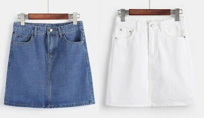 NEW Girls Kids Blue White Denim Skirt Frayed Pencil Party Age 5 6 7 8 9 10 11 12
