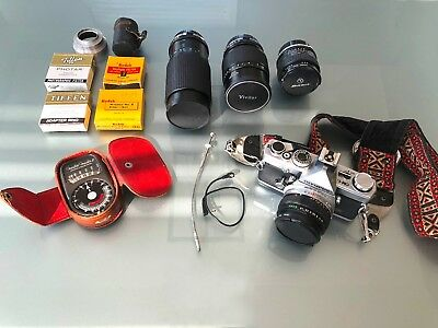 Olympus OM-1 MD with Various Lenses and Accessories