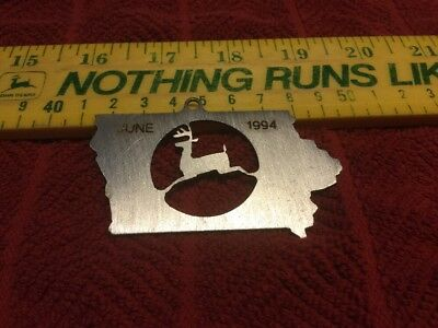 "Unusual Vintage John Deere 1994 ""Laser Cut"" Metal Logo In Iowa Ornament - New"