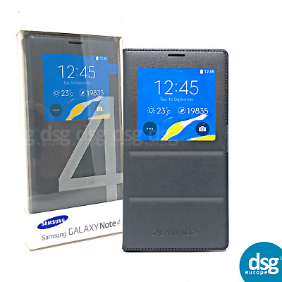 Genuine Samsung S-View Black Pattern Flip Case Cover For Galaxy Note 4 N910