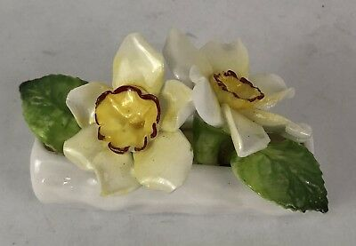 Vintage Coalport Bone China White Yellow Flowers Green Leaf in a Log