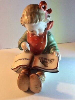 Vintage Little Girl Reading a Book - Little Red Riding Hood Made in Japan