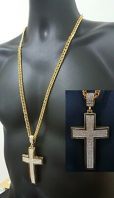 14CT Gold Plated Large Jesus Hip Hop Bling Cross Iced Out CZ Crystal  Neclace uk 1ef7c75d1c0a