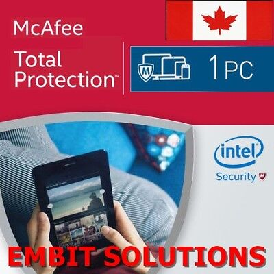 McAfee Total Protection 2018 1 PC Device 1 Year Antivirus Internet Security