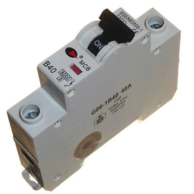40 amp MCB circuit breaker type B B40 single pole phase 230V 40A din rail Lewden