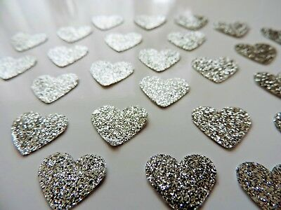 50 Silver Love Hearts Waterproof Shiny Stickers Self Adhesive FREE UK DELIVERY