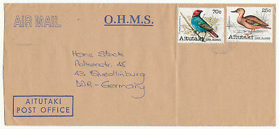"Aitutaki ""birds""  # 236, 246 Airmail Cover To East Germany (1988)"