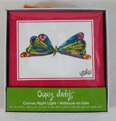 Oopsy Daisy PBK NIB  Eric Carle's Butterfly Canvas Art Night Light