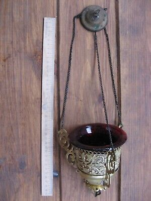 Russian,Large Lamp for Icon,Lampada Orthodox Antique old bronze with Glass