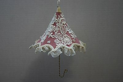 """Pink Victorian Open Umbrella Christmas Ornament w/ Lace & Beads 8"""" tall x 5 1/2"""""""