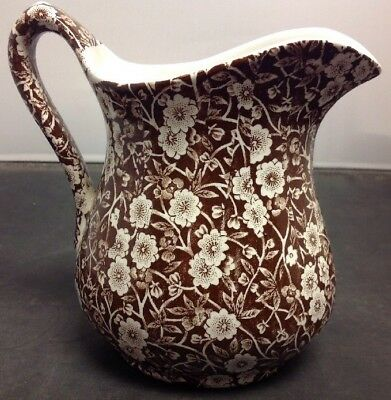 """Royal Crownford Staffordshire CALICO Brown 24 oz. Pitcher (5 3/8"""") England"""