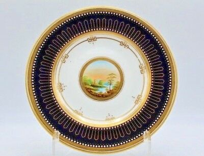 Stunning Hand Painted Plate w/ Landscape Scene - Cobalt w/ Applied Gold & Dots