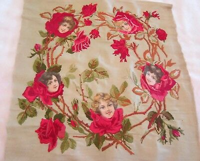 Rare 1906 American Beauties Rose embroidered Pillow cover front Beautiful Ladies