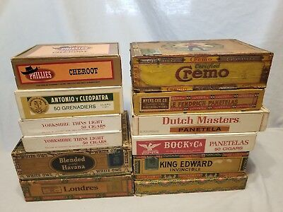 Lot Of 12 Premium Cigar Boxes Mixed/Random Good Condition See Pictures