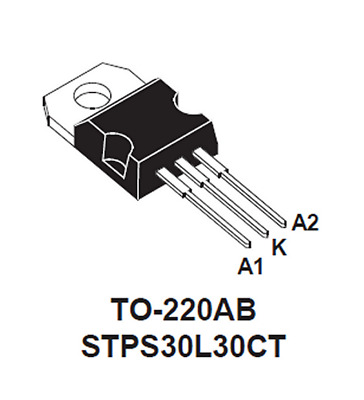 30Amp 30Volt dual Schottky diode STPS30L30 TO220AB Ideal for Solar panel combine