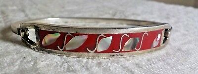 Sterling Silver 925 Mexico Signed Oval Mark W/Symbol Hinged Bangle W/Abalone