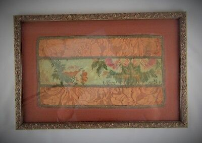 Framed 19th Century Silk on Silk Floral Embroidery Needlework From Yugoslavia