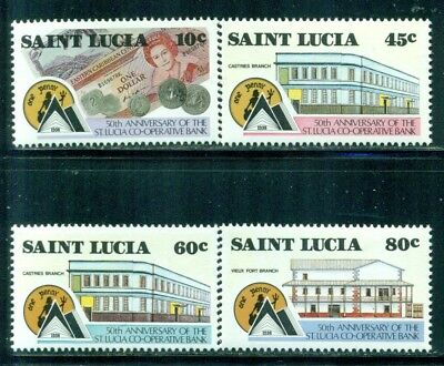 ST. LUCIA 910-13 SG977-80 MNH 1988 Cooperative Bank set of 4 Cat$4