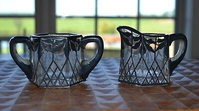 Vintage Silver Filigree Over Crystal Sugar & Creamer - Beautiful!  2.25 inches