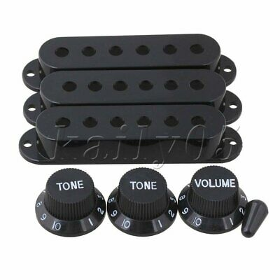 Black Switch Tip Single Coil Pickup Cover with 1 Volume 2 Tone Knobs Guitar Part
