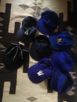 Vintage Wool 6 Panel Baseball Hat Cap Lot Of 8 1950's 1960's 50s 60s Antique