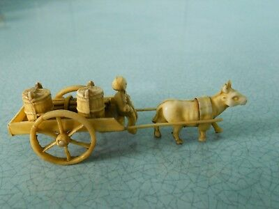 Antique Vintage Japanese Chinese Celluloid Miniature Open Ox Cart Figurine