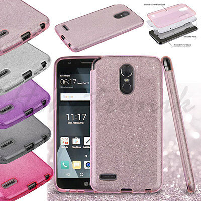 For LG Stylo 4 Hybrid Bling Glitter Rubber Silicone Protective Hard Case Cover