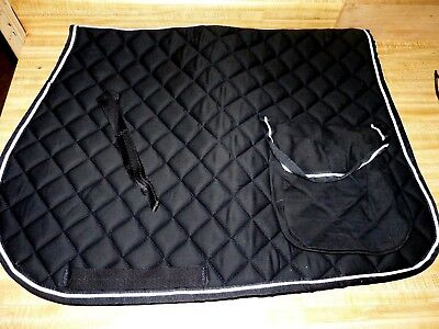 English Horse Saddle Pad  Quilted with pockets, Black w/ white pinstriping