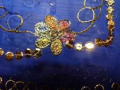 fancy purple & gold sequined scarf used by owner for Arabian horse costume