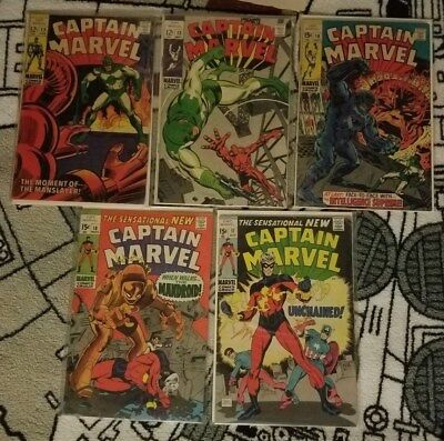 Captain Marvel Silver Age 5 Comic Book Lot  12, 13, 16, 17, 18