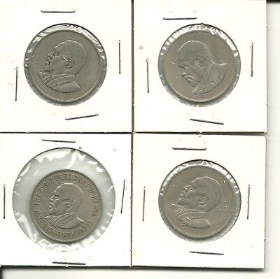 Lot of 4 KENYA One Shilling Coins 1966 1967 1968 1969 1 Africa Old Circulated