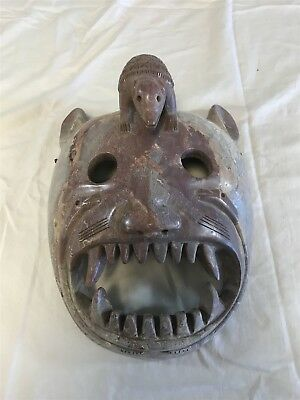 Handcrafted Stone Wall Mexican MASK with Armadillo and snakes