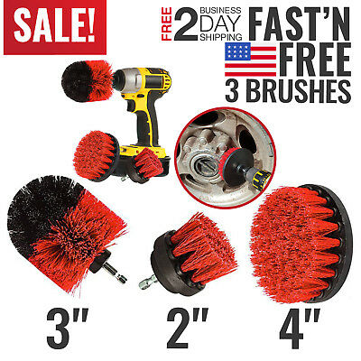 Power Scrubber Drill Brush Set Cleaner Spin Bathroom Tub Shower Tile Grout Wall