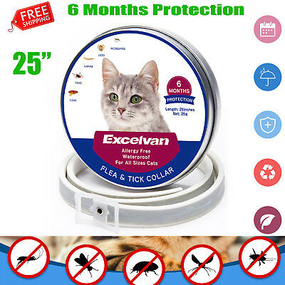 "25"" Excelvan Pet Cat Flea and Tick 6-Month Collar for Cats Waterproof Adjustable"