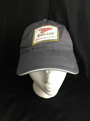 Miller High Life Hat The Champagne Of Beer Strap Back Gray Ball Cap