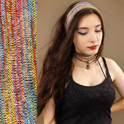 100% Cotton Nepalese Stripe Headband Hair Band Stretch Tube Pastel Rainbow Wide